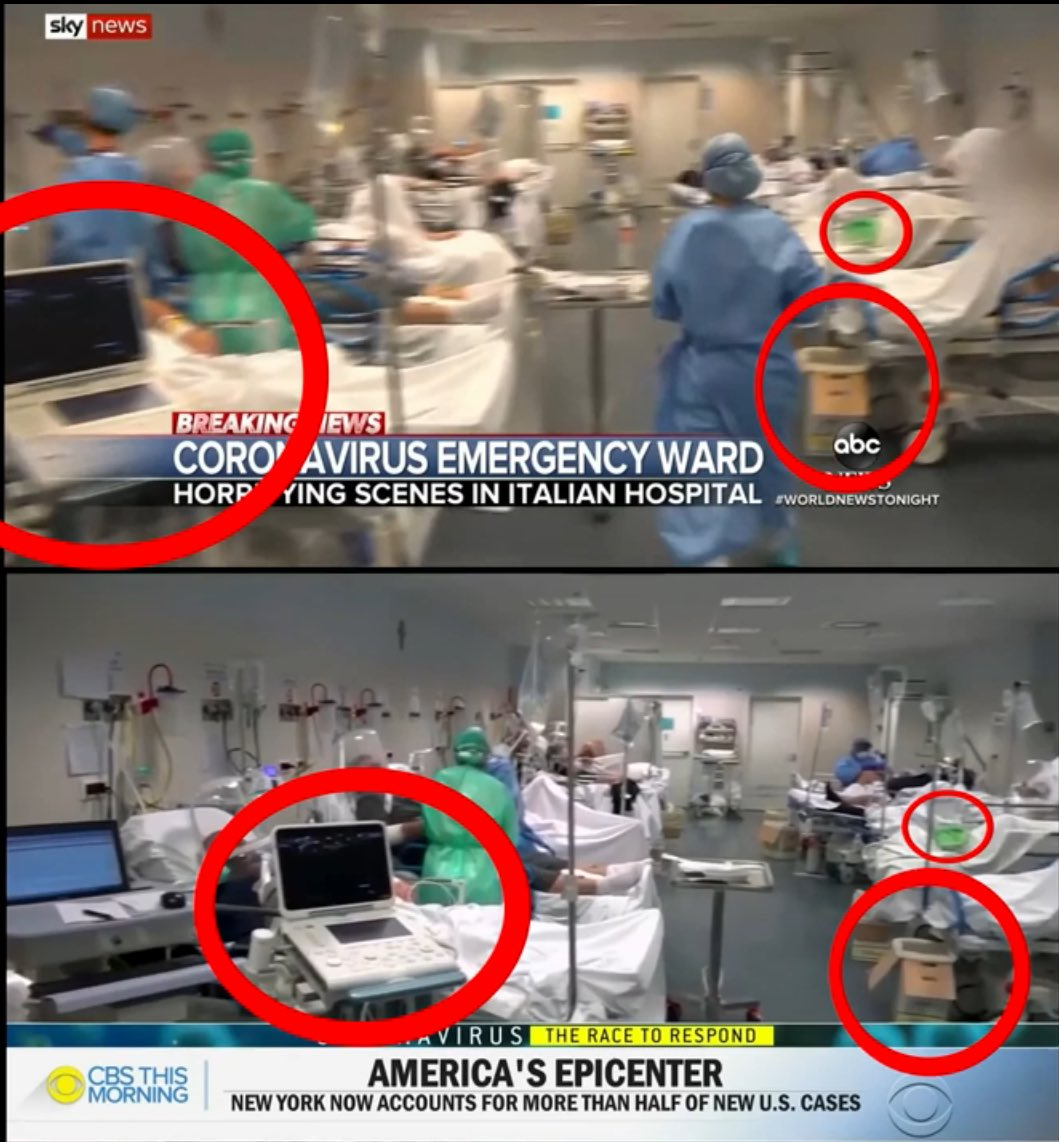#MSM at it again trying 2 cause #Panic lying & distorting reality- 2 hospital scenes: NY & Italy shown by #CBS & #SkyNews except ITS THE SAME FOOTAGE! #FakeNews is the #EnemyOfThePeople #Propaganda #CoronaHysteria #Coronavirustruth #Covid_19 #coronavirus #Corona #coronahoax #WHO pic.twitter.com/c4bEC2BWu8