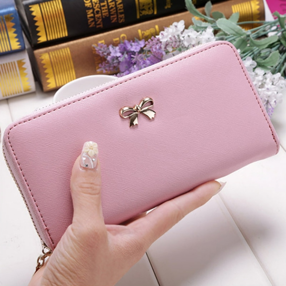 #happy #instalike Cards Holder Wallet Ladies Cute Bowknot Women Long Wallet Pure Color Clutch Bag 2019 New PU Leather Purse Phone Card Holder Bag