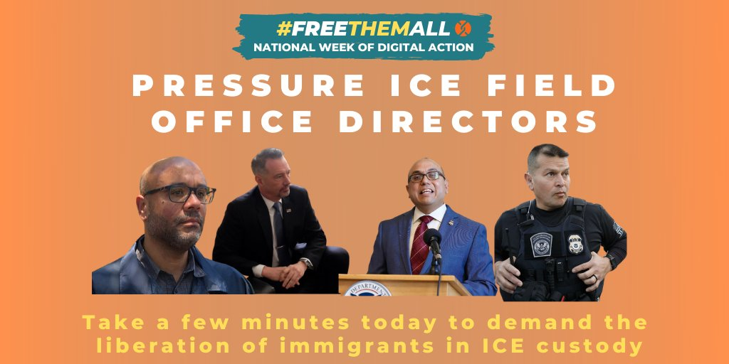 1/Today is Day 1 of @Detentionwatch's #FreeThemAll Week of Digital Action! The first target is ICE Field Office Directors. A #COVID19 outbreak in immigration detention is imminent. ICE has the discretion to #FreeThemAll. Read & RT this thread for ways to put pressure on ICE today