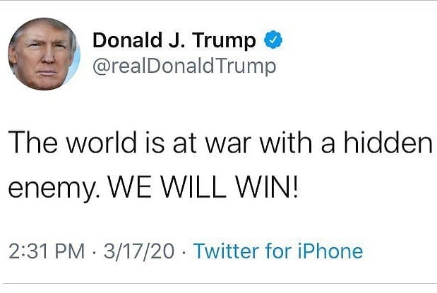 "THREAD  THE INVISIBLE ENEMY  1. What does @POTUS mean when he says ""The world is at war with a HIDDEN ENEMY?""  2. What does he mean when he says ""We will defeat an INVISIBLE ENEMY?""  3. What did he mean when he said we're ""going to MARS very soon?""  Are they related?  I say yes!"