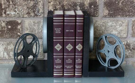 #Cyberweek #Sale Original 8mm film, film reels, and film cans – modified into a pair of #bookends. Unique items with some signs of years of service.#Vintage #ecochic - Great Unique #Gift for the #HomeTheater March 30, 2020 at 11:45AM