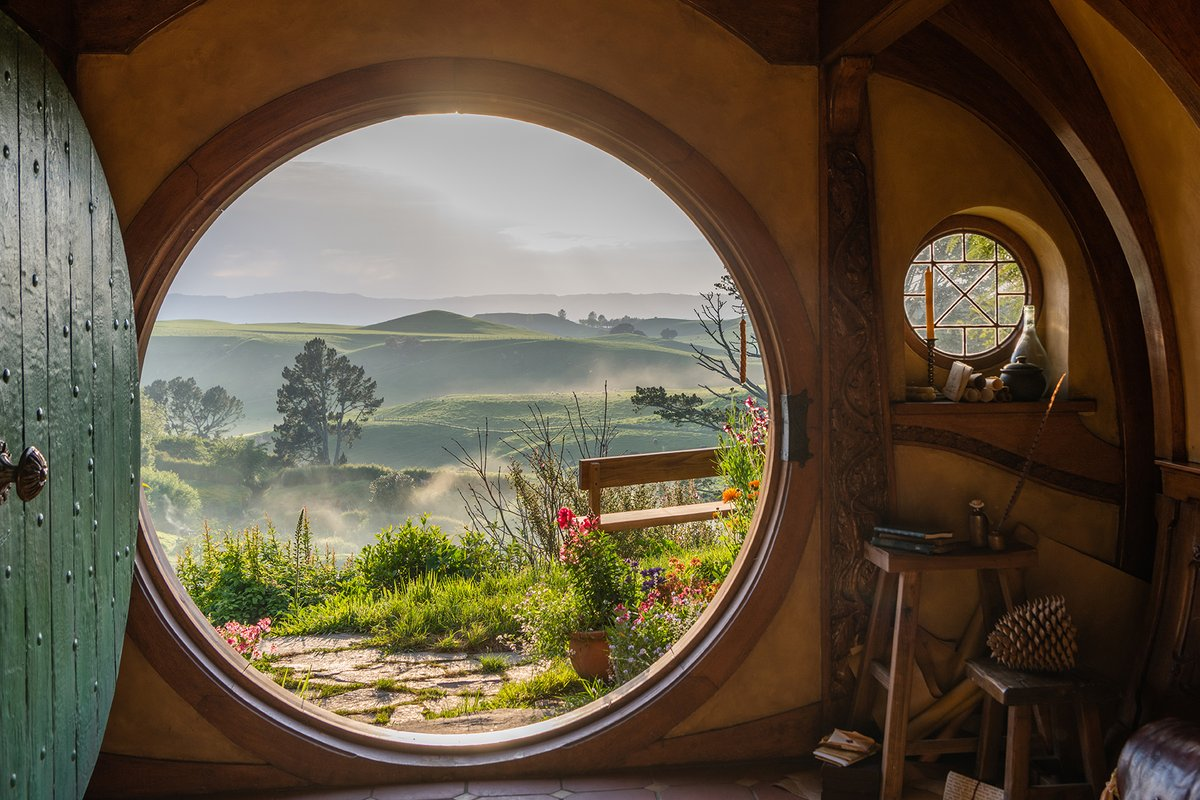 """""""I feel that as long as the Shire lies behind, safe and comfortable, I shall find wandering more bearable: I shall know that somewhere there is a firm foothold, even if my feet cannot stand there again."""" - J.R.R. Tolkien   Hobbiton Movie Set, Matamata, NZ."""