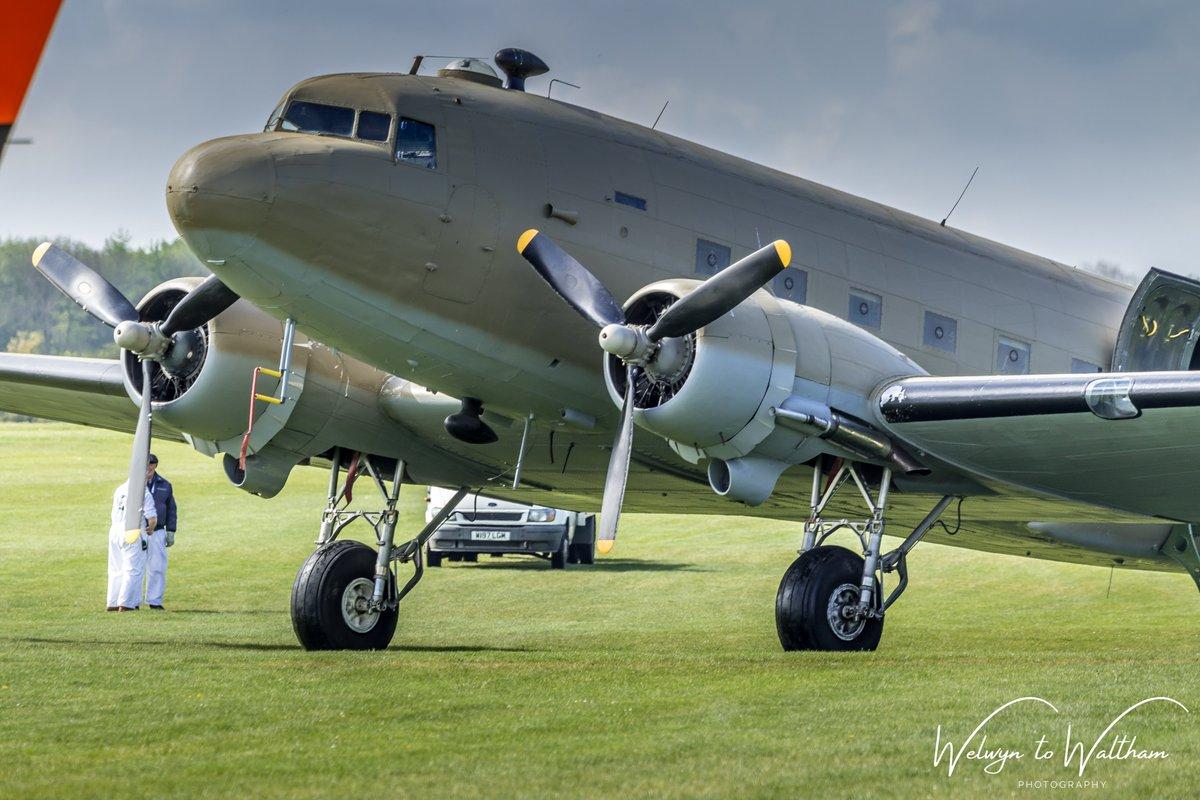 The 'Ace of Spades' / 'Mayfly' N147DC in between paint schemes at Shuttleworth Season Premier Airshow 2019 @AirshowsOfTheUk @Shuttleworth_OW #avgeeks #oldwarden #shuttleworth #dakota #skytrain #C47