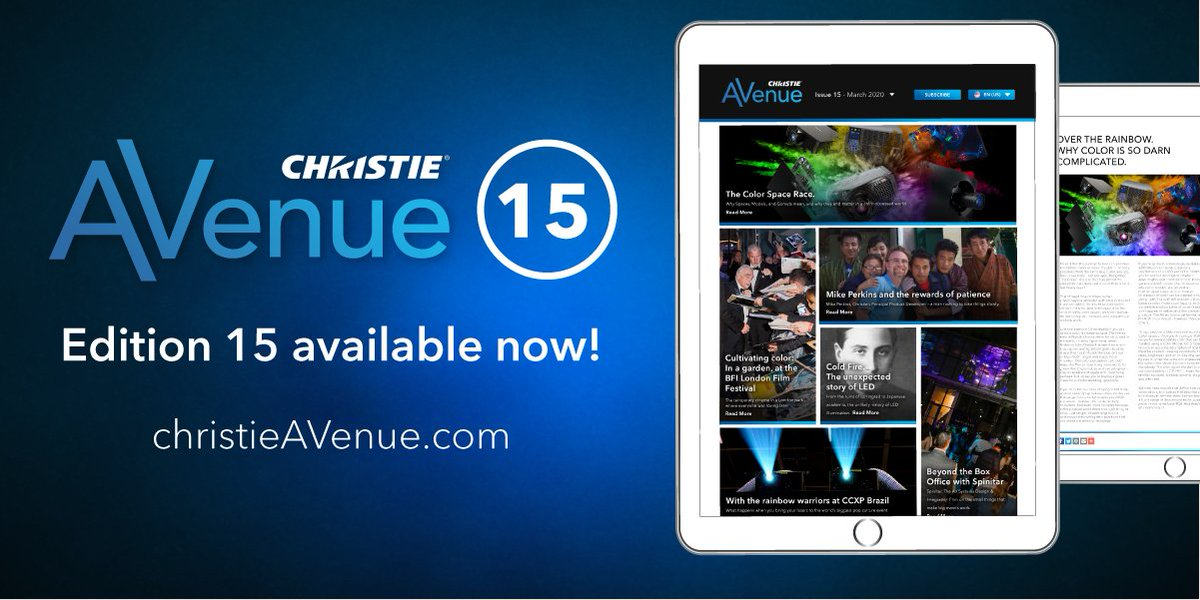 #ChristieAVenue 15 is out! Get you Monday reading on #avtweeps and see why we've dedicated this issue to the beauty of color as it surrounds us in its various forms. Read on >> http://bit.ly/2u2klb5 #audiovisual #proAV #projection #livedesign #avtechpic.twitter.com/yFP169ARDH