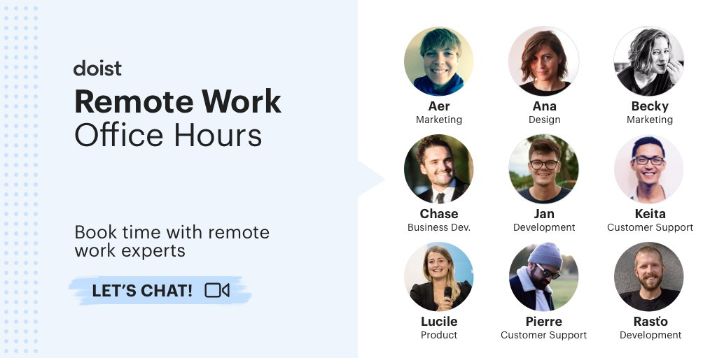 ✨We're starting Doist Office Hours to help with any questions you have about transitioning to remote work. With team members across the world, we're offering these conversation in 7 languages! 🌏  Book time with these Doisters 👇