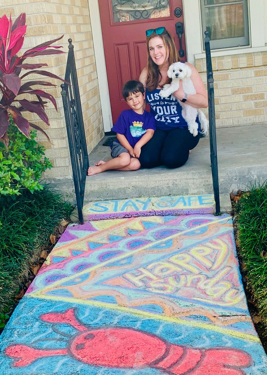 Dana and her son hanging out in front of some beautiful chalk art at their home in Bucktown! Looks like a perfect Sunday! : Dana Lepanto #nola #neworleans #louisiana #ulocal #bucktown #metairie #weekendvibes #onlynolapic.twitter.com/8IAuOpL5Ej