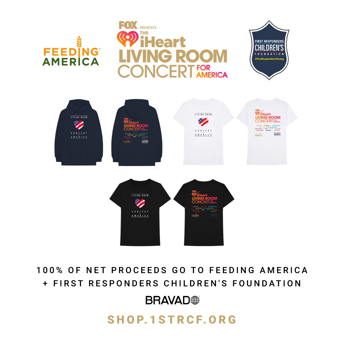 You can now shop exclusive Living Room Concert for America merch. 100% of net proceeds go to @1strcf and @FeedingAmerica ➡️ https://shop.1strcf.org  #iHeartConcertOnFOX ❤️