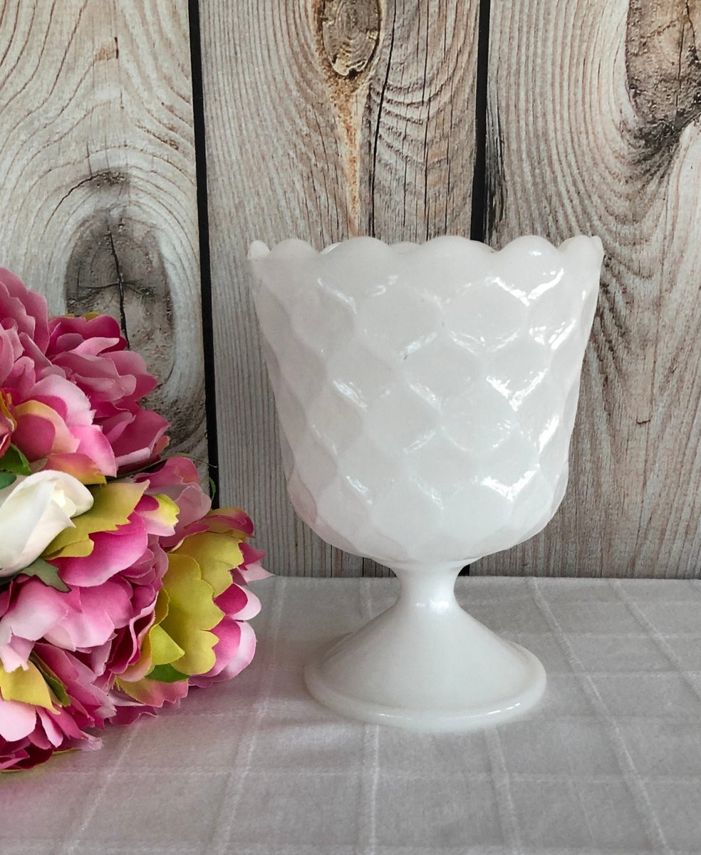 Excited to share the latest addition to my #etsy shop: Milk Glass Vase, E.O. Brody MJ-42, Honeycomb Compote, Flower Vessel, Wedding Centerpiece, Vintage Milk Glass  #white #wedding #milkglass #flowervessel #eobrody #honeycombvase #weddingcenterpi