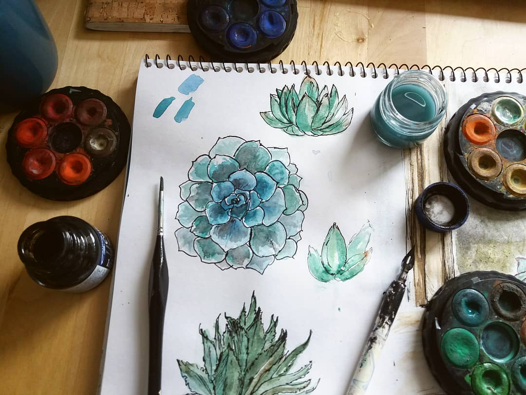 A bit of general watercolour practice today with some plant friends, followed by a teeny tiny teapot vase. 🍵☕🍵🖌✒ ♡ ♡ ♡ ♡ ♡ #illustration #watercolour #watercolourandink #teapot #tealovers #drawing #painting #visualart #art