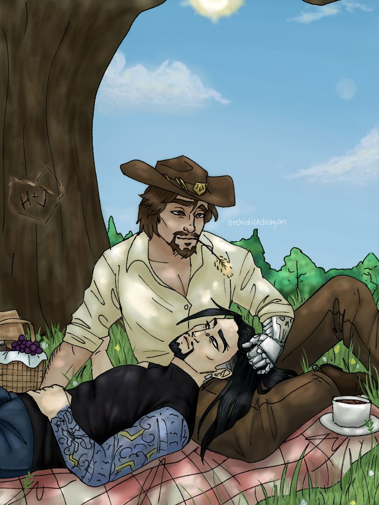 Some soft McHanzo for these trying times, a calm spring nearing the edge of summer picnic  #art #Overwatch #fanart #Hanzo #McCree #McHanzo #JesseMcCree #HanzoShimada #picnic