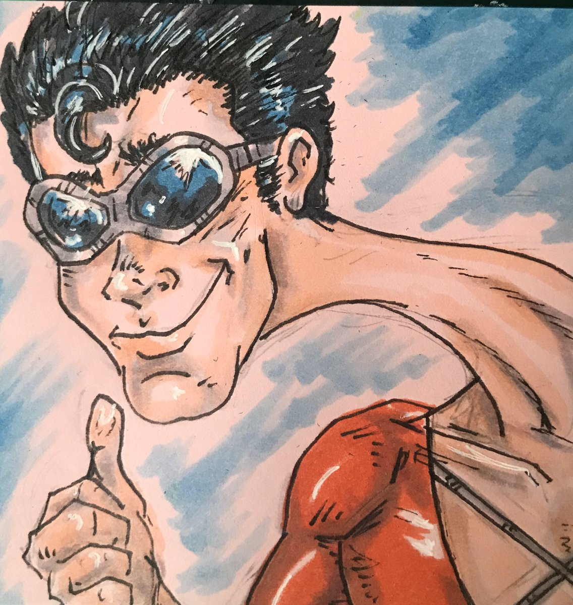 Today's Post-It doodle is Plastic Man. Drawn for today's @toddnauck art challenge.   Pencil, ink and marker on a pink Post-It Note.  #toddnauckartchallenge #postitpopart #comics #comicart #art #plasticman #Dc #dccomics