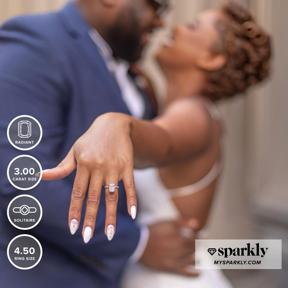 """She said, """"YASSS!"""" I mean who wouldn't with a ring like that?!  •  DM us for expert advice regarding specs and pricing • COMMENT your absolute fav ring styles    Browse more real ring styles at http://MySparkly.com #linkinbio #wifelife #ManiMonday pic.twitter.com/u8Azyz2Uqo"""