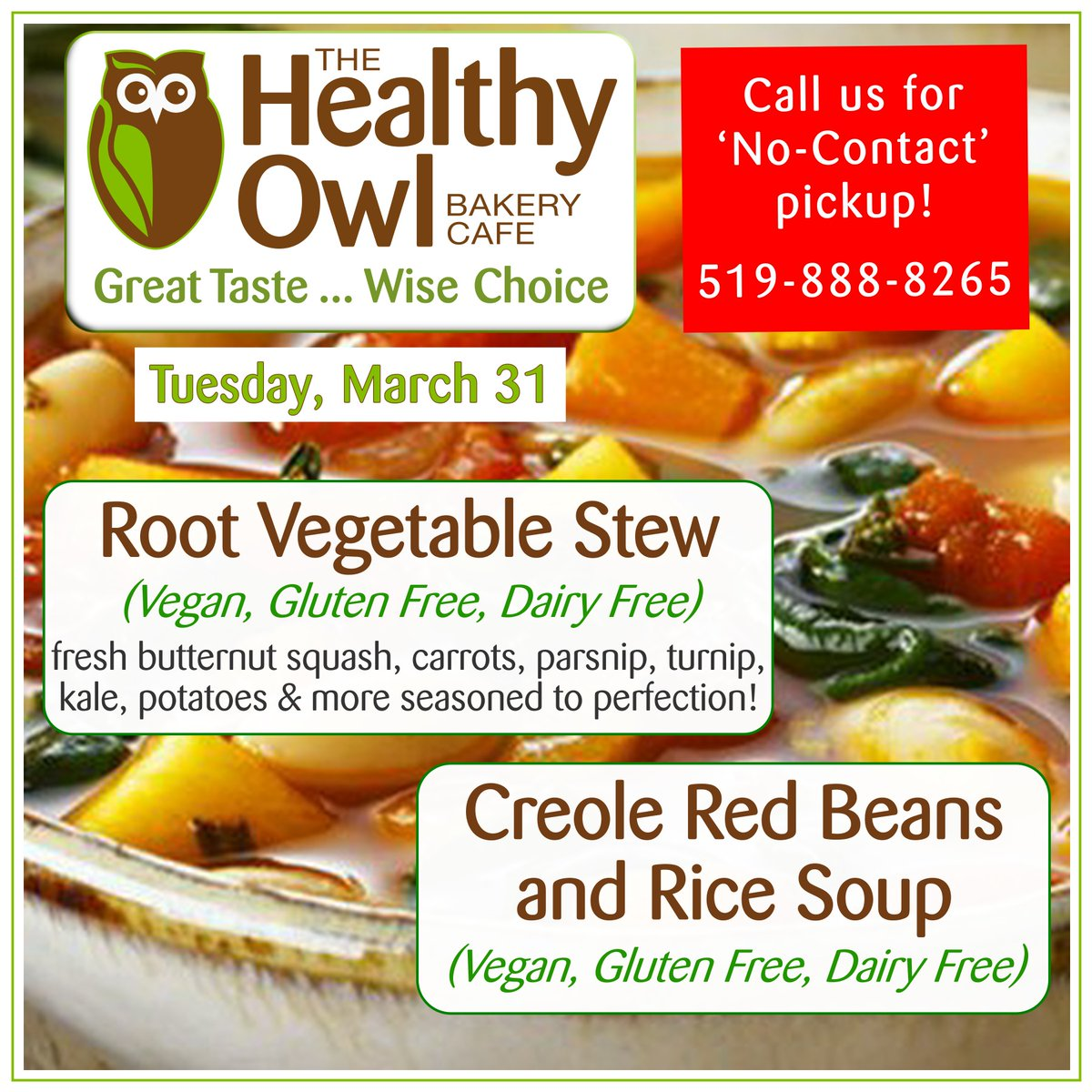 Remember, we do offer non-contact pick-up and our sanitizing procedures are second to none!  Soup & Feature for Tuesday #realfood #glutenfree #dairyfree #kwvegan #kwvegetarian #kwawesome #wrawesome http://thehealthyowl.capic.twitter.com/ttrwJmWQqv