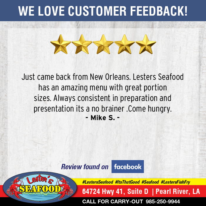 We LOVE getting feedback from our customers! Let us know about your experience while at #LestersSeafood -->> To leave a REVIEW, just click this LINK -->>  http:// mysmallbiz.reviews/lesters     <-- #PearlRiver #ItsThatGood #WorthTheDrive #Seafood<br>http://pic.twitter.com/01IbXatxfT