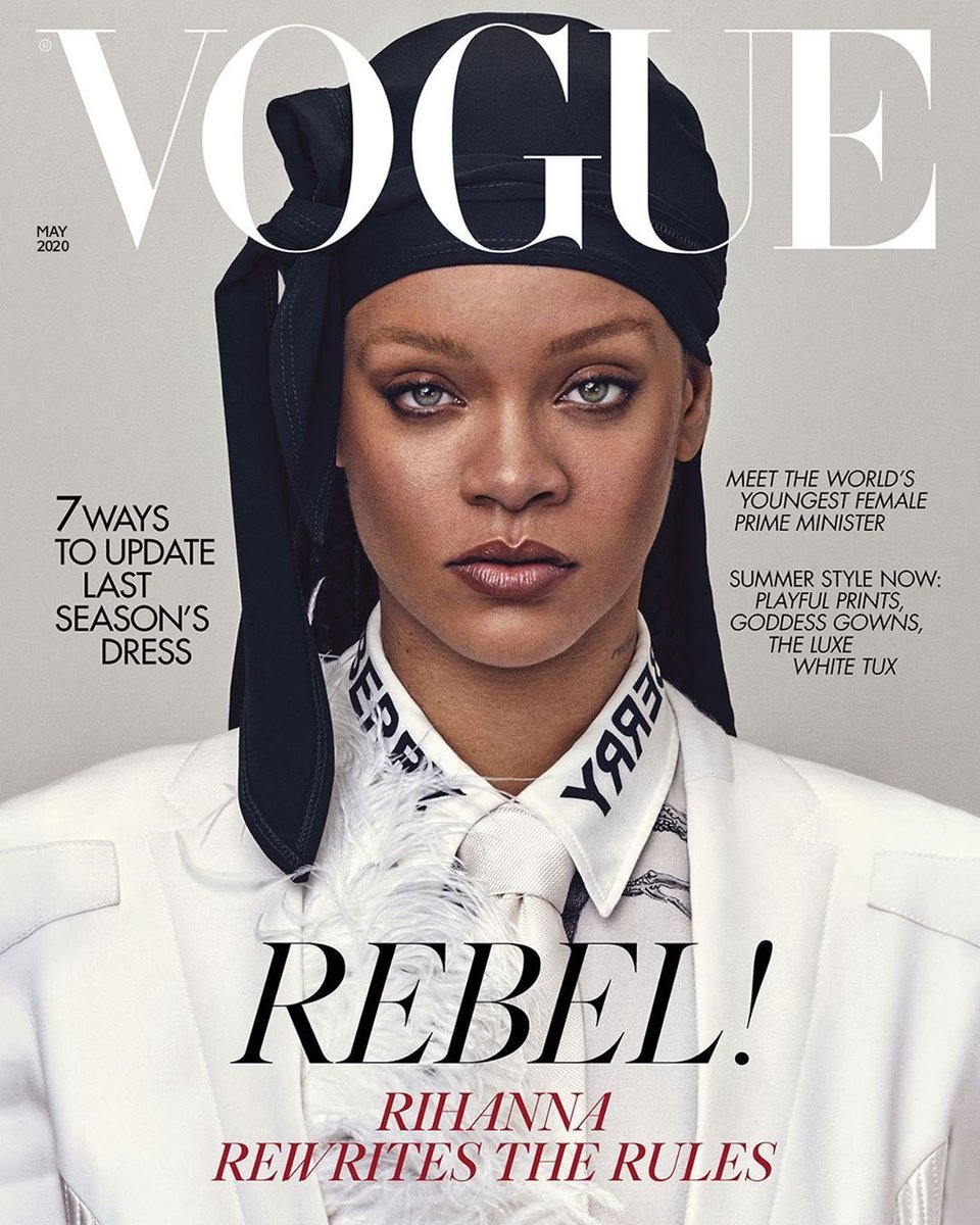 Rihanna is on the cover of British Vogue wearing a durag. period.