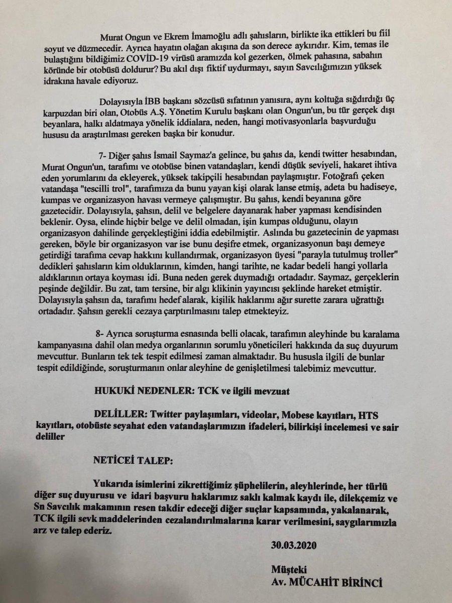 Mücahit Birinci; suç duyurusunda Ekrem İmamoğlu, Murat Ongun, İsmail Saymaz ve diğer şüphelilerin halkı kin, nefret, öfke ve düşmanlığa sevk ettiği iddiasında bulundu @birincimucahit