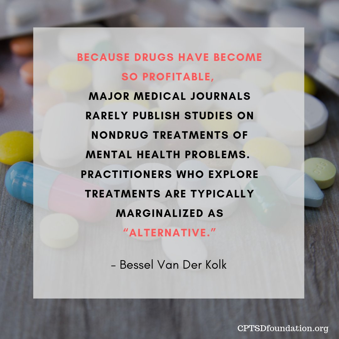 """Because drugs have become so profitable, major medical journals rarely publish studies on non-drug treatments of mental health problems. Practitioners who explore treatments are typically marginalized as """"alternative."""" - #FightTheStigma #MentalHealthMatters #RecoveryIsWorthIt pic.twitter.com/CNSZswEE0R"""
