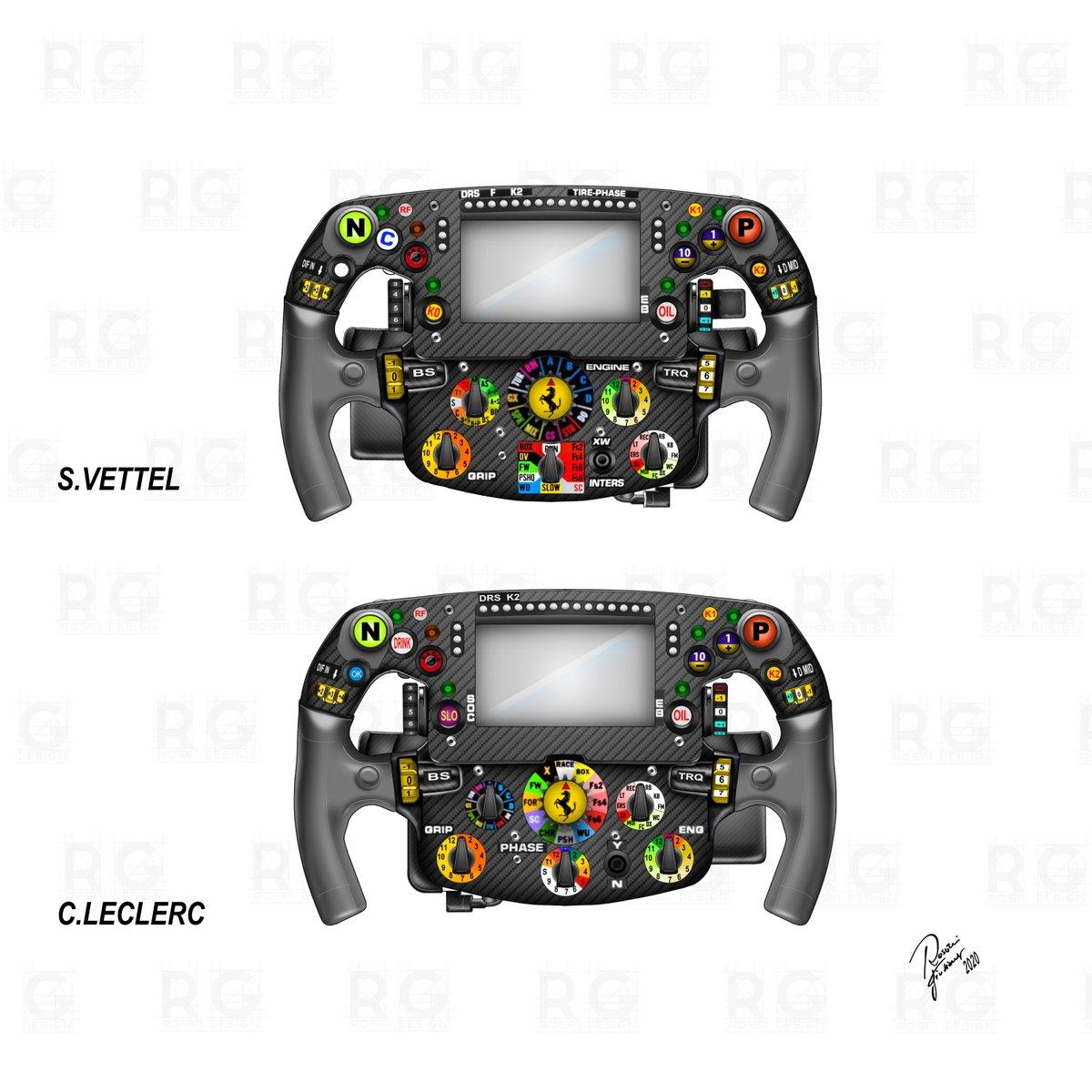 Confronto fra il volante di Vettel e Leclerc. Oltre a una diversa personalizzazione dei manettini, le preferenze ricadono anche sull'uso delle mani che azionano la frizione: Vettel utilizza la mano sinistra, mentre Leclerc usa la mano destra.  #F1 #Tech #ScuderiaFerrari