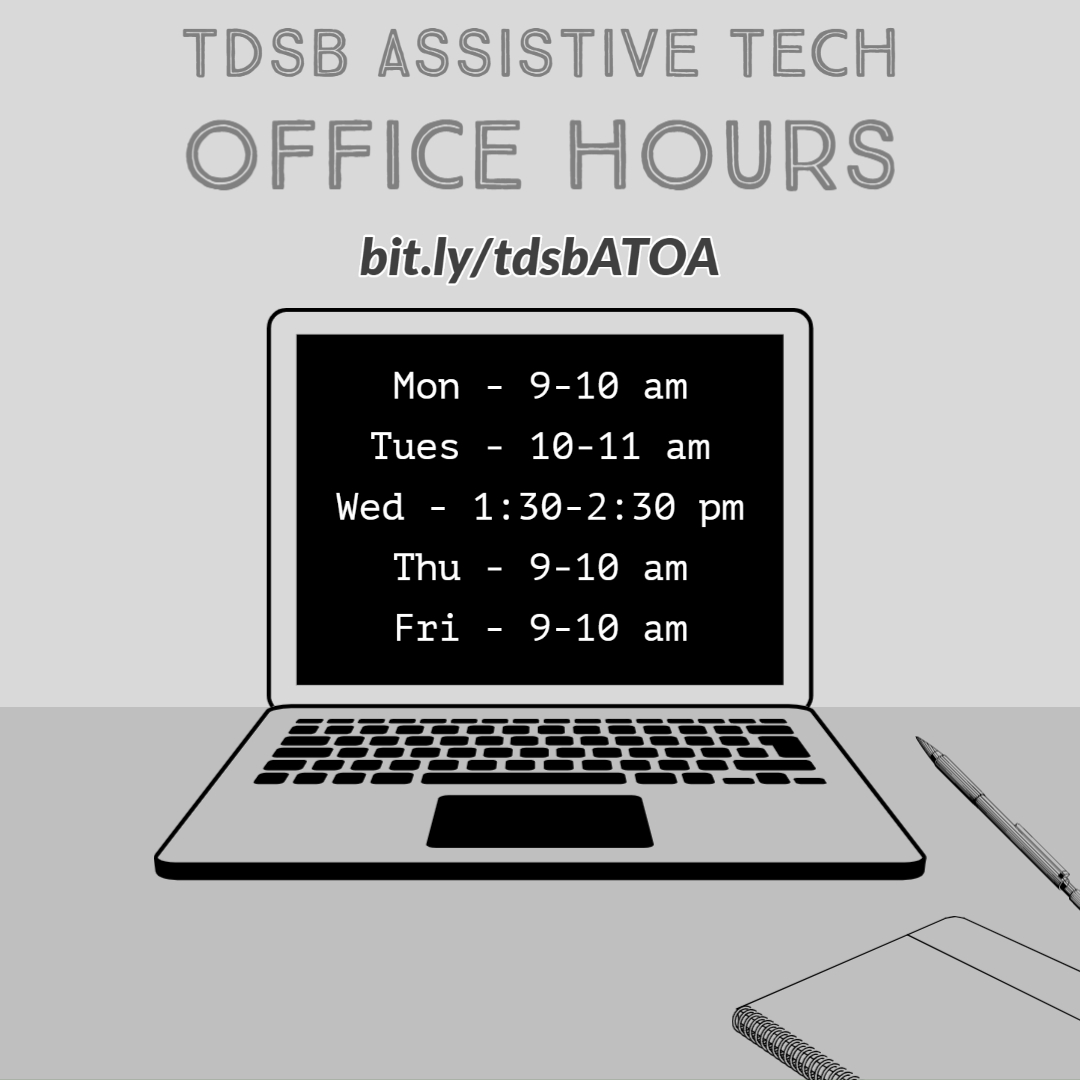 In addition to Getting Started with Read and Write Extension webinars this week posted on Key to Learn for @TDSB  educators, please join us during Office Hours this week to support #tdsb  teachers with using #assistivetechnology  #tdsbRL  We will be live to answer your questions #