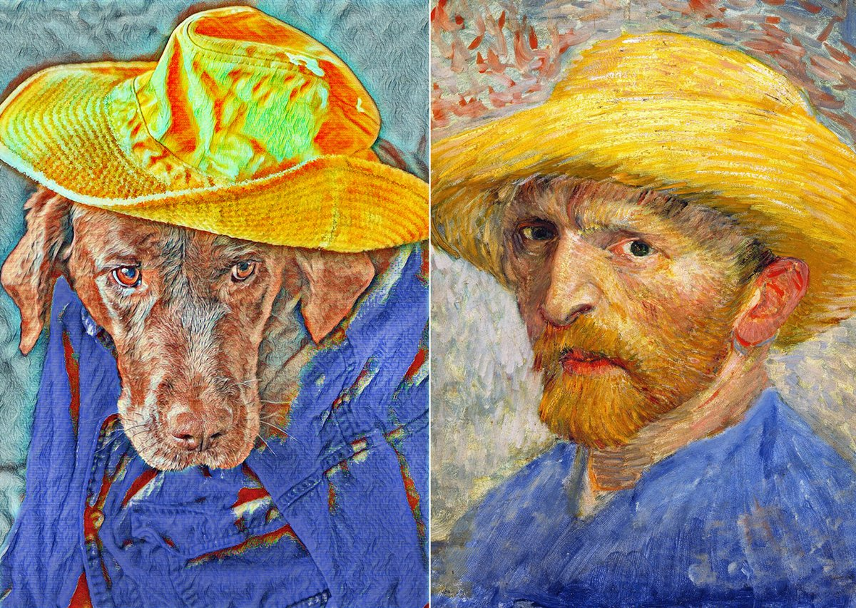 Van Cocoa -  #Quarantine fun. Reenact famous paintings with our chocolate Labrador. It's an Instagram challenge using #TussenKunstEnQuarantaine — which means 'between art and quarantine' #BestDogEver #VanGogh https://robinloznakphotography.blogspot.com/2020/03/van-cocoa.html…pic.twitter.com/ZYlEg6E6Fc
