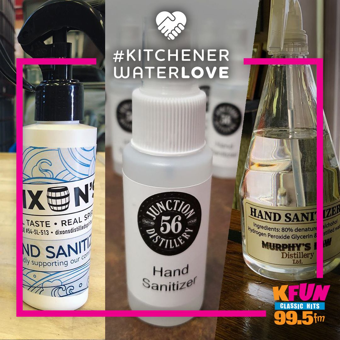 Local alcohol producers deserve some #KitchenerWaterLOVE for using their resources to produce hand sanitizer for front line workers! Thank you to Dixon's Distilled Spirits, Junction 56 Distillery & Murphy's law Distillery Ltd. for your great work!   #kwawesome #wregionawesomepic.twitter.com/DD4VnK26XN