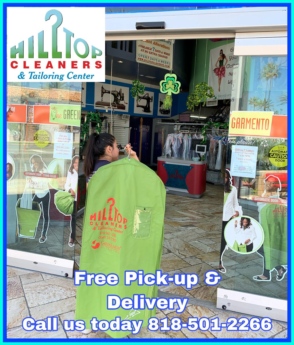 We are open 7days a week from 7AM-7PM to take care of all ur #dry cleaning needs     Call us today for #freepickupanddelivery 818-501-2266 #hilltopcleaners #encino #laundry #tailoring #freedelivery #fluffandfold #shermanoaks #tarzana pic.twitter.com/Zo2WT4I002
