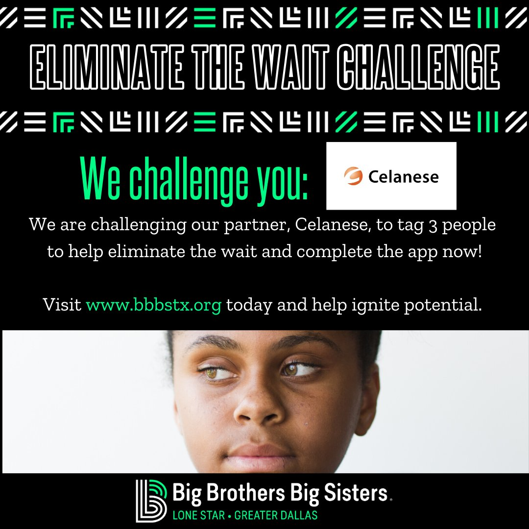 It's time to make an impact! Celanese, you're up next! Help us eliminate the wait and get apps completed today.   Visit http://www.bbbstx.org and become a big!  #BBBS #EliminateTheWait #MakeADifference #IgnitePotential #CompleteTheApp #BeABig #RealMenMentor #MakeAnImpactpic.twitter.com/PxEApJzzJU