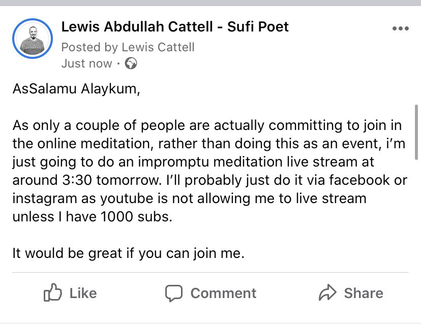 Update on the sufi meditation tomorrow. I'll be going live on my facebook page @ 15:30. Anyone is welcome to join.
