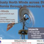 Image for the Tweet beginning: Gusty north winds for portions