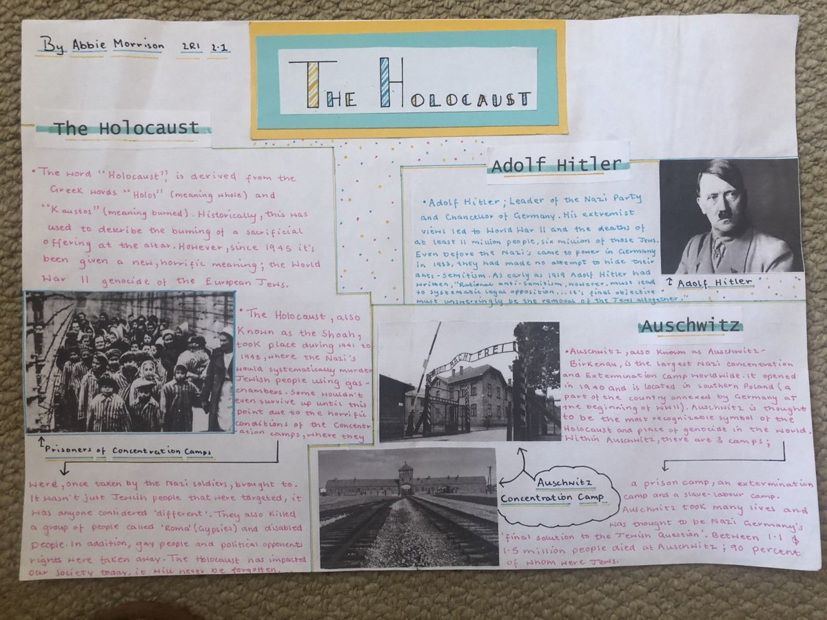 #bestoftheday for Monday comes from Abbie M who produced this excellent poster on the Holocaust. Well done also to Sadie F for her quiz work and Halle G for finishing her Assessments. #weareQHS #StayHomeSaveLives