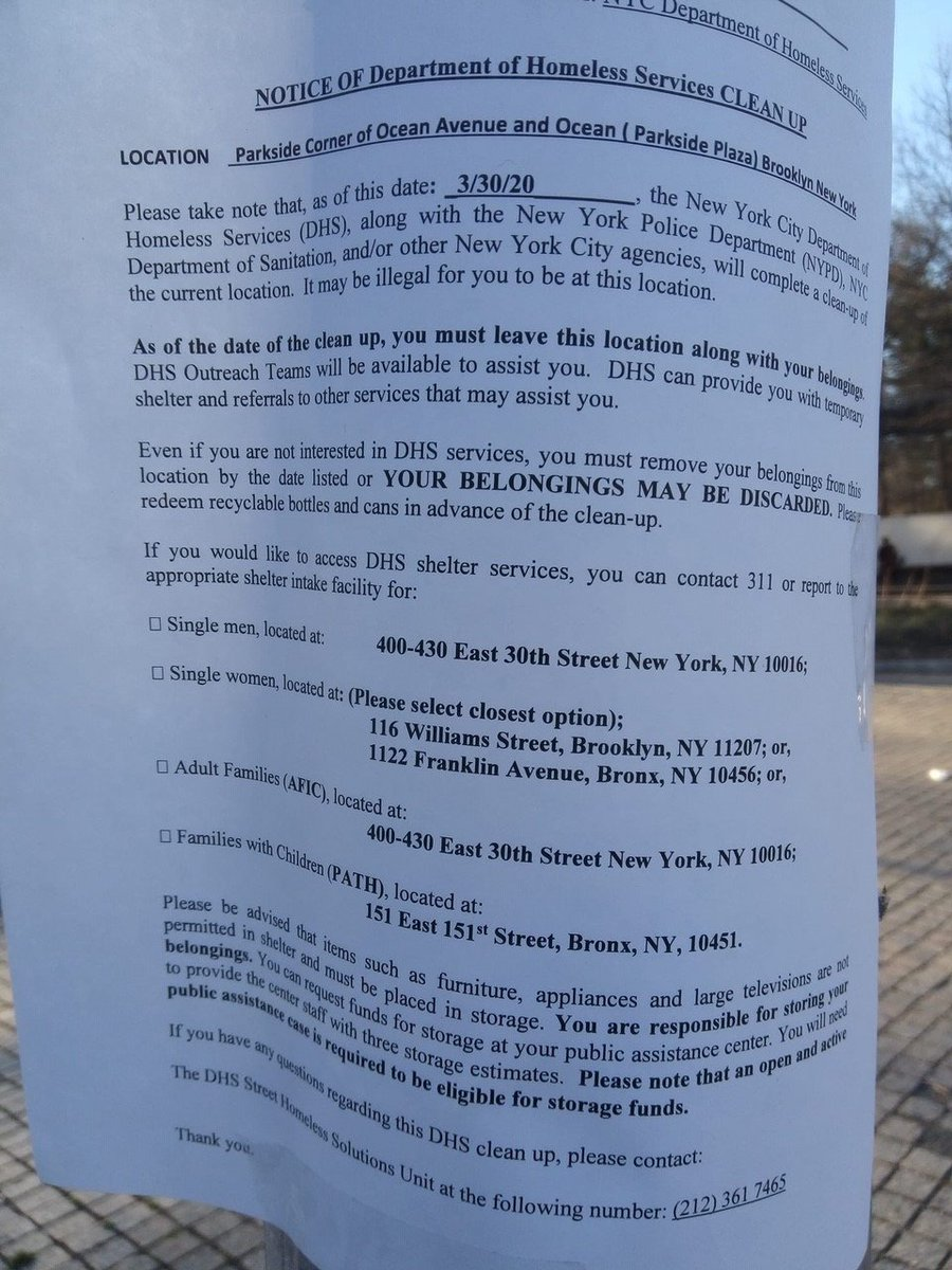 While homeless NYers struggle to survive COVID19 with no resources or support, @NYCDHS and @NYCMayor have found a way to make their situation even more impossible. **Allies: if you see a notice like this, please take a photo & let us know.** #SweepWatch #HomelessCantStayHome