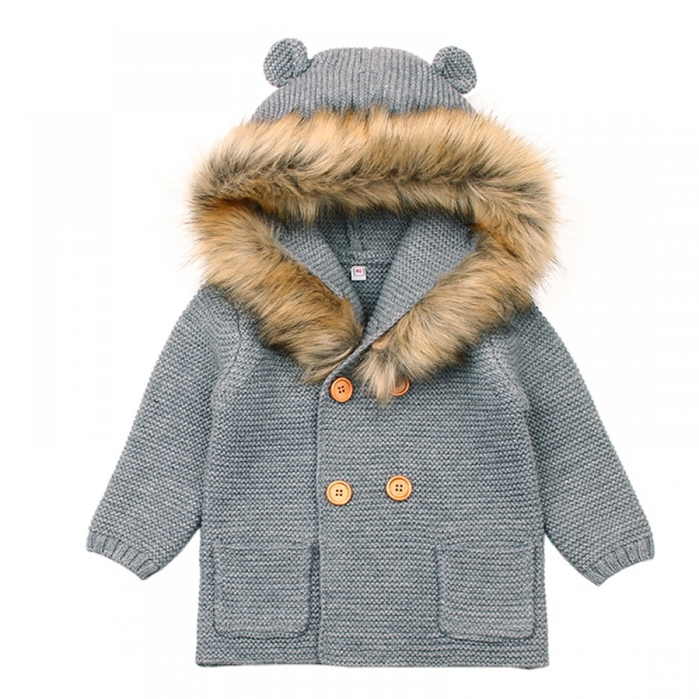 #makeup #bestoftheday Warm Knitted Hooded Coat for Babies