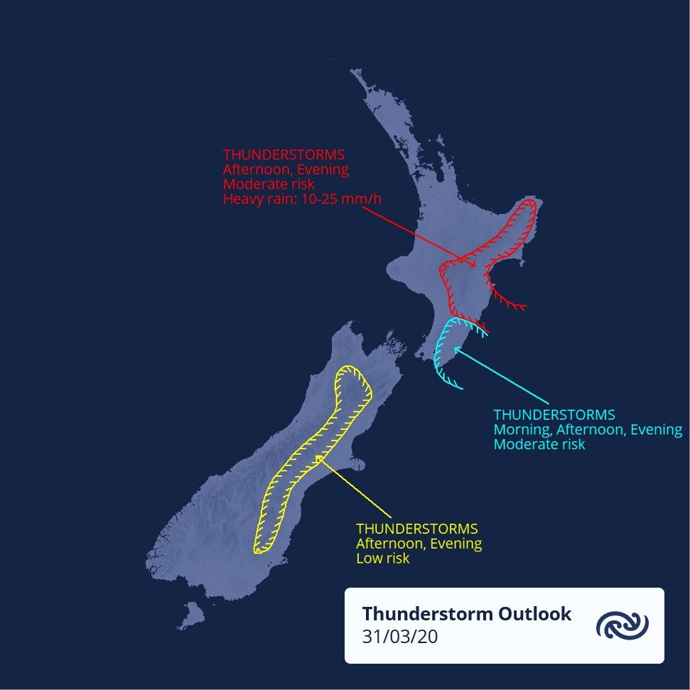 There are low & moderate thunderstorm risk areas around NZ today. Get the details at metservice.com/warnings/thund… ^RK https://t.co/GlLaCCbW6r