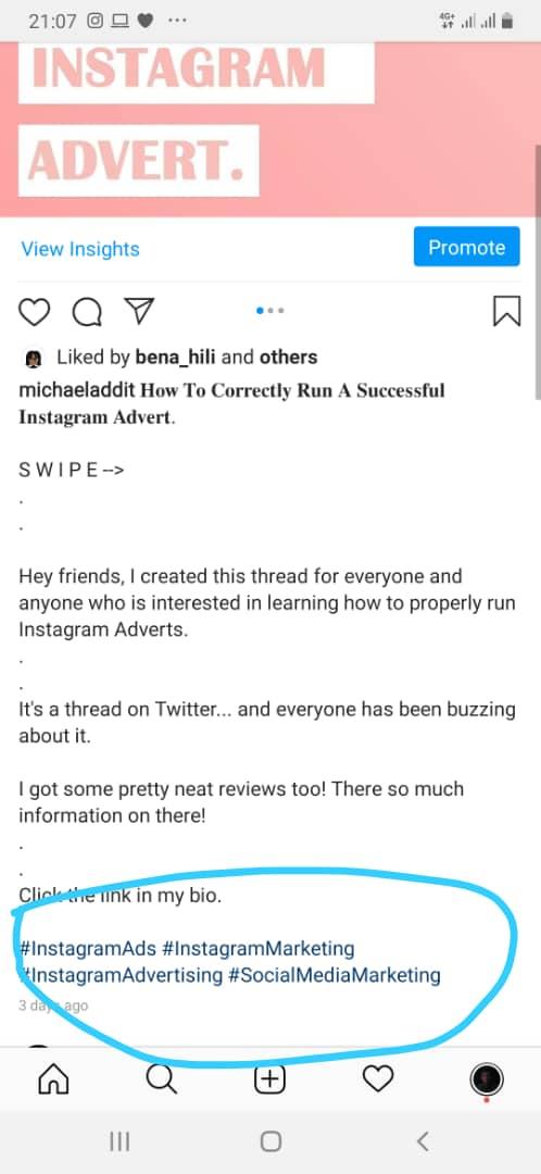 Instagram advert hash tag
