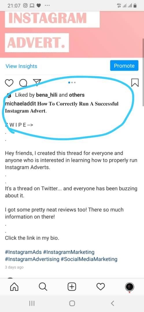 Instagram advert
