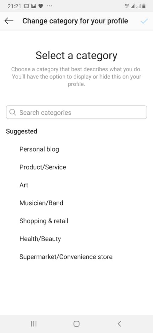 instagram category