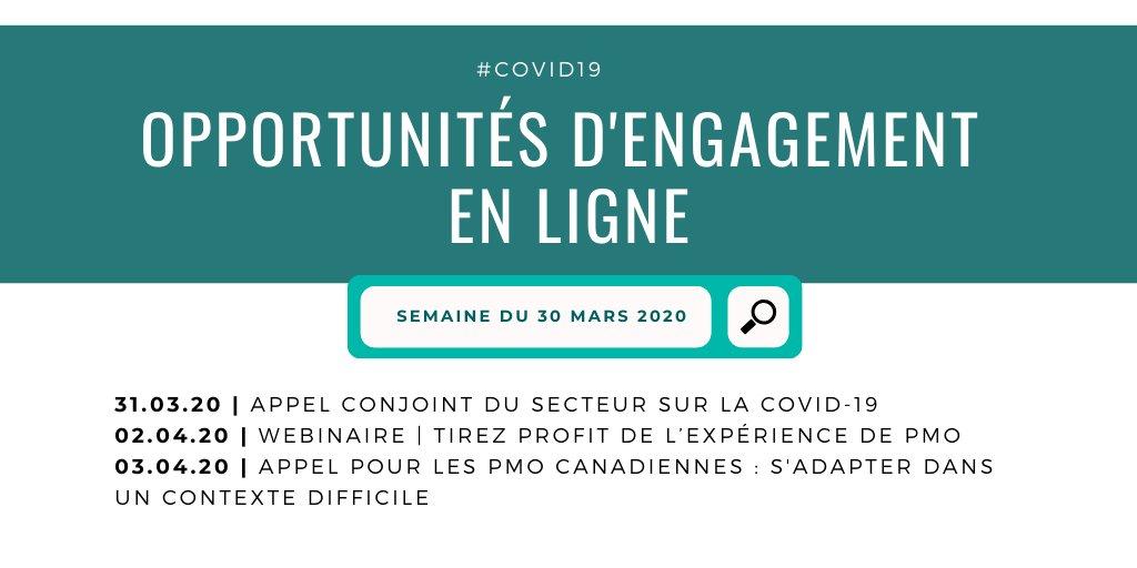 Opportunités de mobilisation pour les #PMO cette semaine avec @Spur_Activer, @ICN_RCC, @CCCICCIC et #FIT - apprenez-en plus et inscrivez-vous! #COVID19 https://t.co/f4s8aMW1Lu