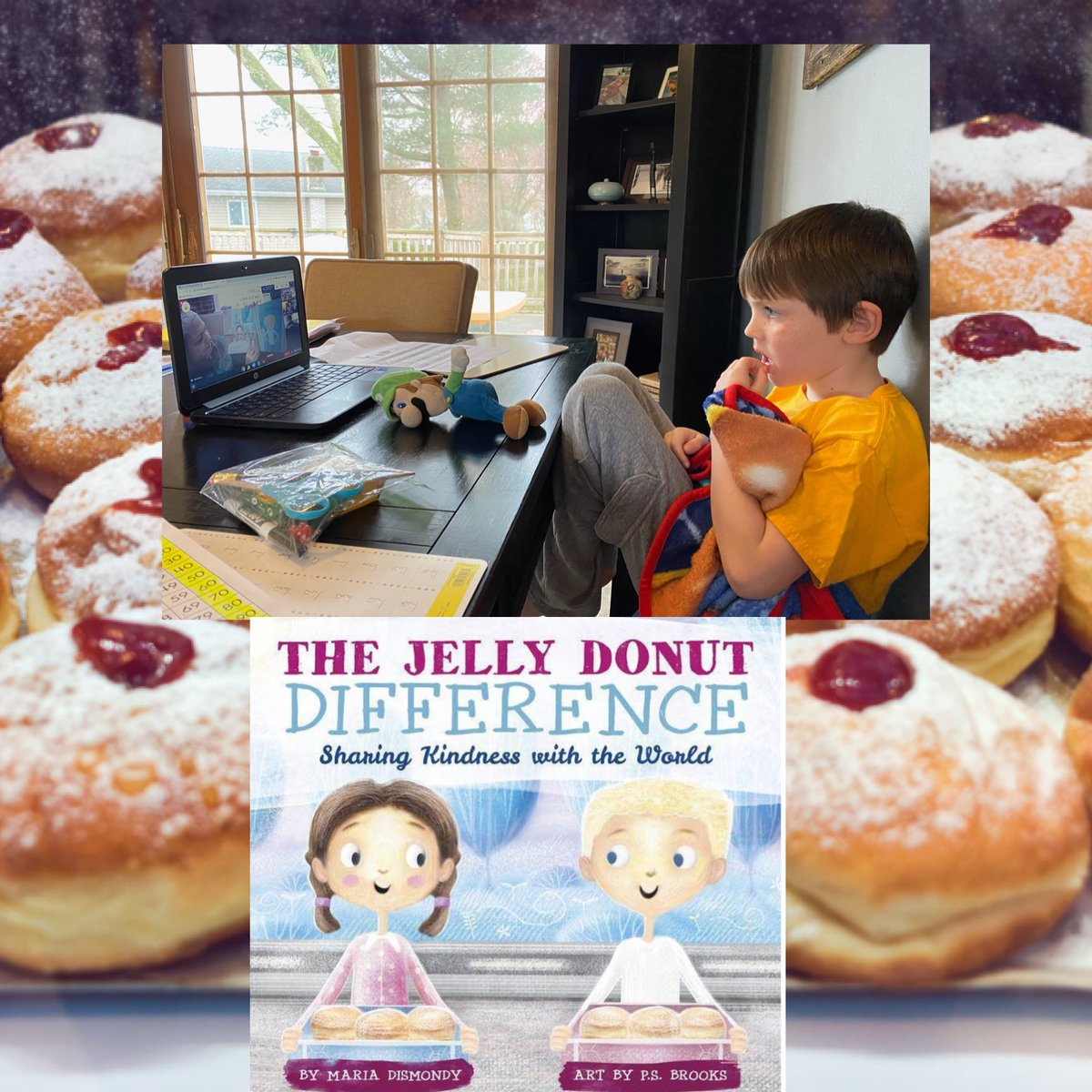 Today we took a bite out of the heartwarming #story The Jelly Donut Difference! #Sharing #Kindness with the #World! So many wonderful lessons in this story! #kindness #empathy #feelings #siblinglove #workingtogether #neighbors #ItTakesAVillage #bozzisbunch pic.twitter.com/IQwyLrZrvt