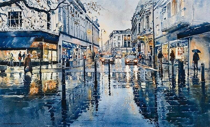 There's no place like home on a Rainy day   #painting by Robert Goldsmith  #Rain #City pic.twitter.com/30i5EvwP3Z