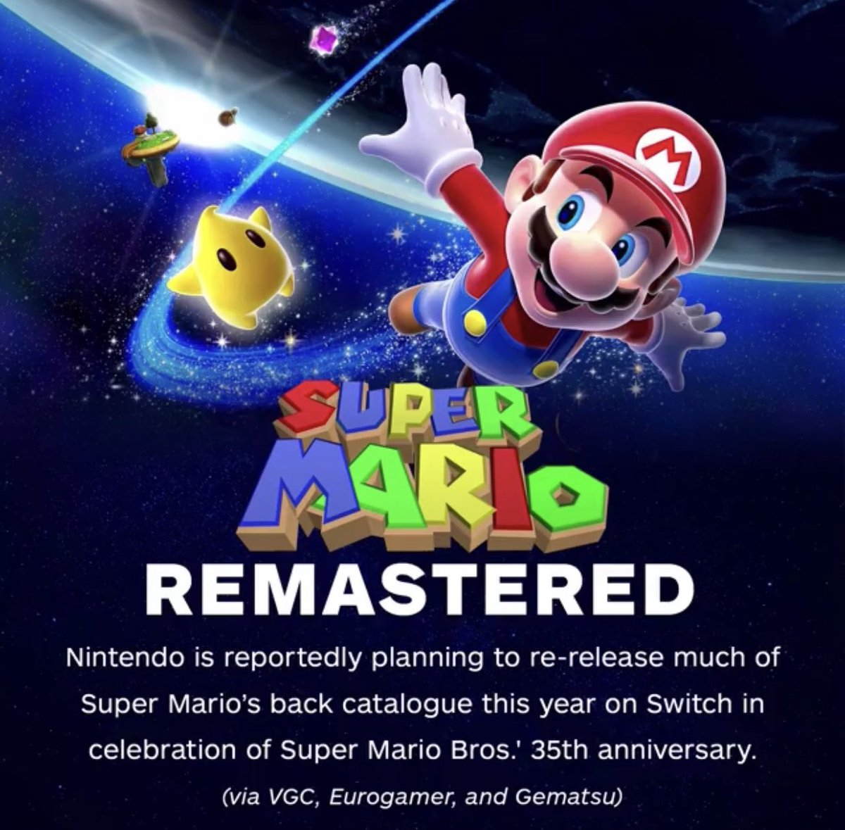 These rumored #Mario games coming in 2020 may include remasters of #Mario64, #MarioSunshine, #MarioGalaxy, and 3D World, as well as a new entry in the Paper Mario series. #NintendoSwitchpic.twitter.com/xX05r6jxvr