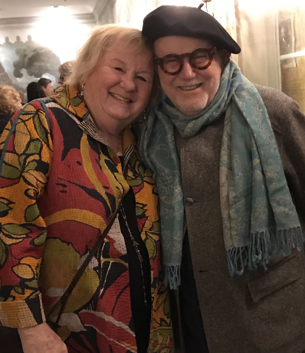 One of my many joyous evening with beloved friend Tomie dePaola. He never grew old. Rest in Joy, sweet Tomie. pic.twitter.com/99jT9DHIKh