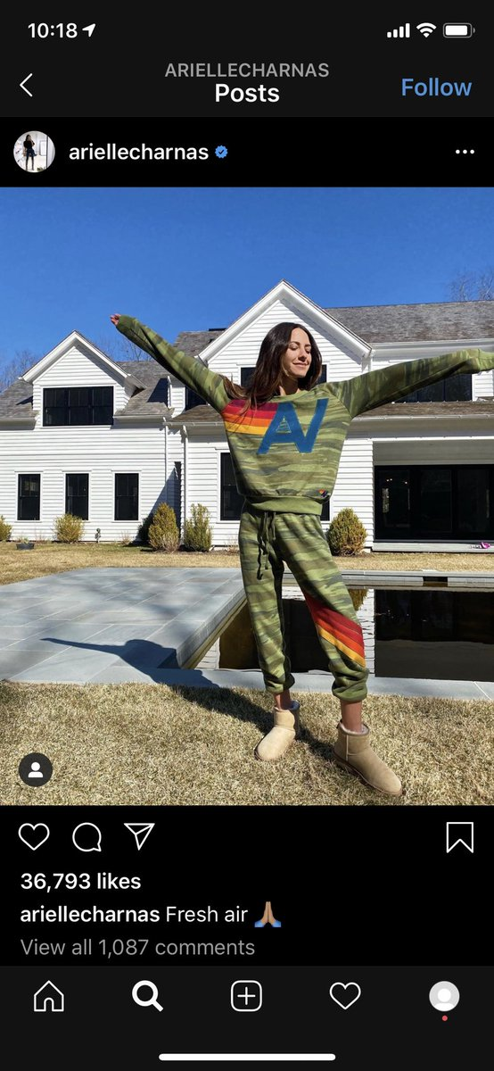 """After the video, she immediately takes this opportunity to post an #ootd of her with the caption """"fresh air."""" People are big mad. Not only is she literally putting peoples lives at risk, but she's setting a horrible example for her 1.3 mill followers (even if they're mostly bots) pic.twitter.com/qo96FPklov"""