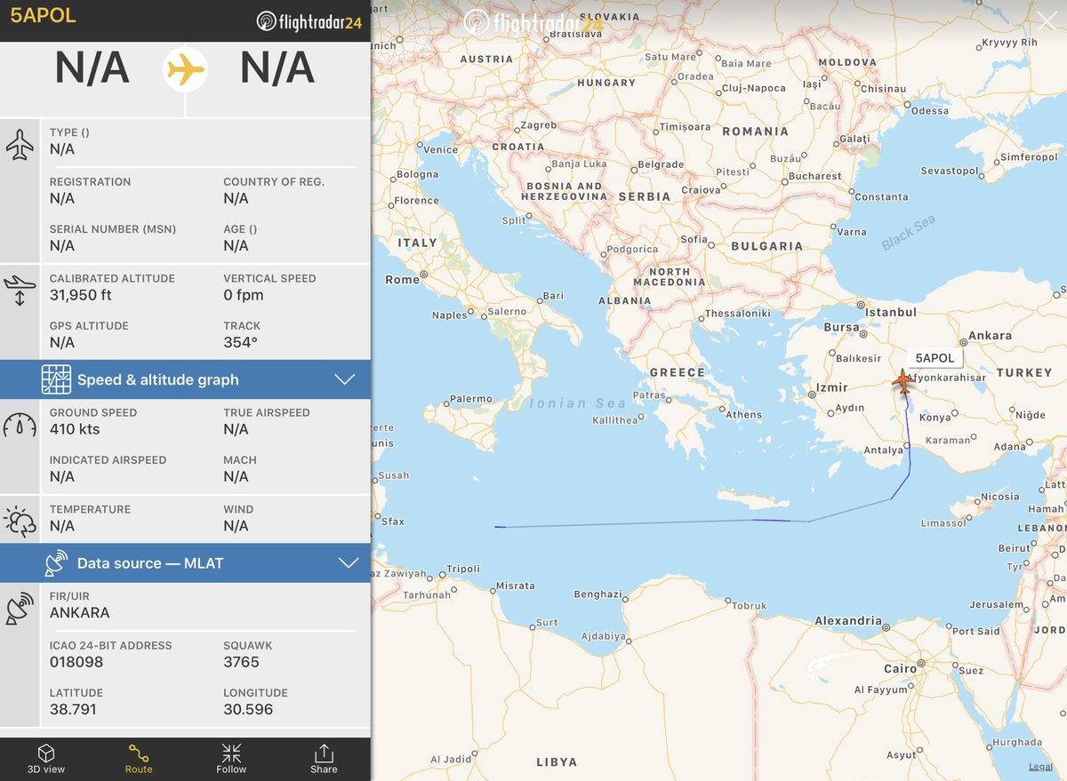 #Turkish military transport aircraft returning to #Istanbul from #Libya spotted at 21:39UTCpic.twitter.com/HJKInCAZ6W