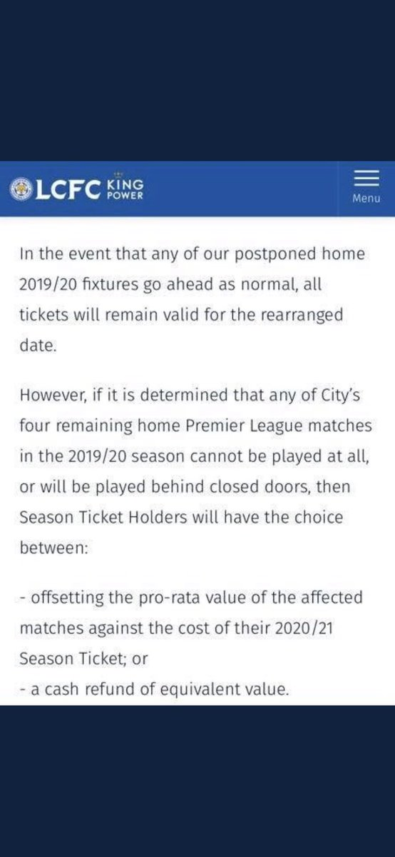 Hi @davidgold This is what Leicester are doing for season ticket holders. I take it West Ham will follow suit?