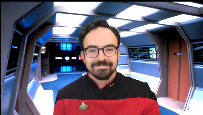 Zoom has green screen capability, so this is how I showed up to a meeting today.