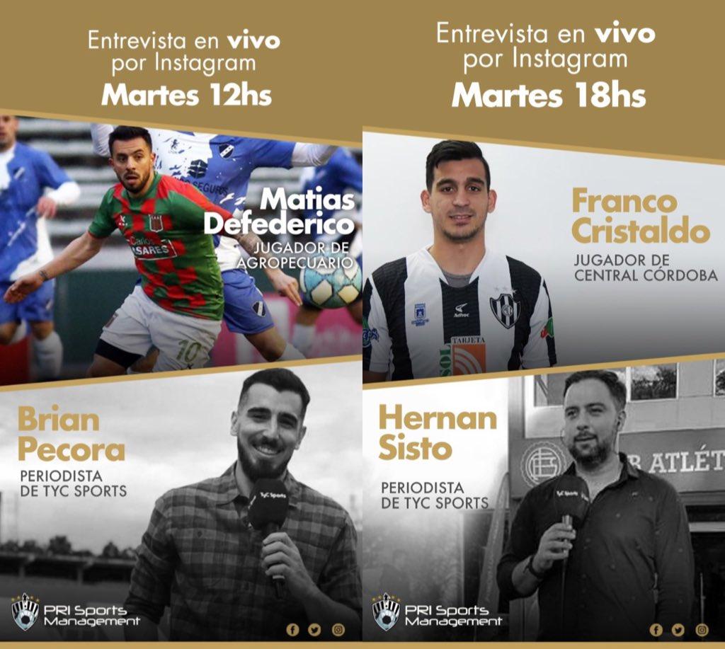 👨🏻💻🎙 Mañana seguí en vivo las entrevistas a nuestros jugadores por sus cuentas personales de @instagram.  A las 12hs @matydefederico estará hablando con @BrianEPecora. Y a las 18hs @FrancoCris16 hablara de todo con @HernanSisto.   ¡Préndete, no te lo pierdas! 🗣⚽️👏 https://t.co/I2Xl2h4WFG