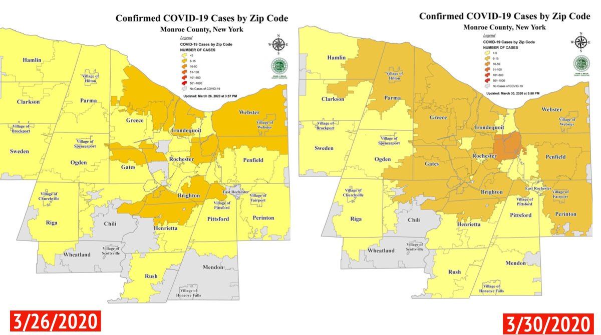 Harry B Bronson On Twitter These Are Two Maps Of Confirmed Covid 19 Cases By Zip Code In Monroe County Stay Strong Rochester And Be Diligent About Social Distancing Staysafe Stopthespread Https T Co Npjj3dmygm