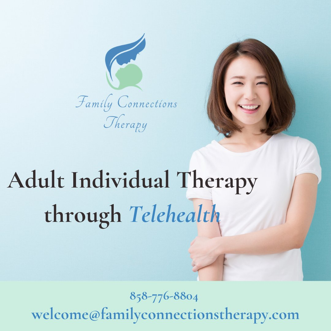 Did you know we offer individual therapy for adults? Contact us today to sign up for a remote session through Telehealth!    https://soo.nr/2fug    #telehealth  #teletherapy  #teleplaytherapy  #remotetherapy  #therapy   #familytherapy  #sandiegotherapist  #familyconnectionstherapy  