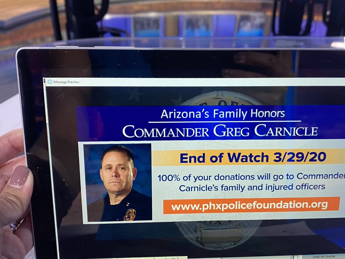 Please give if you can... Donations for @PhoenixPolice foundation. 100% going to Commander Carnicle's family & the 2 officers shot on the job last night #azfamily 💔
