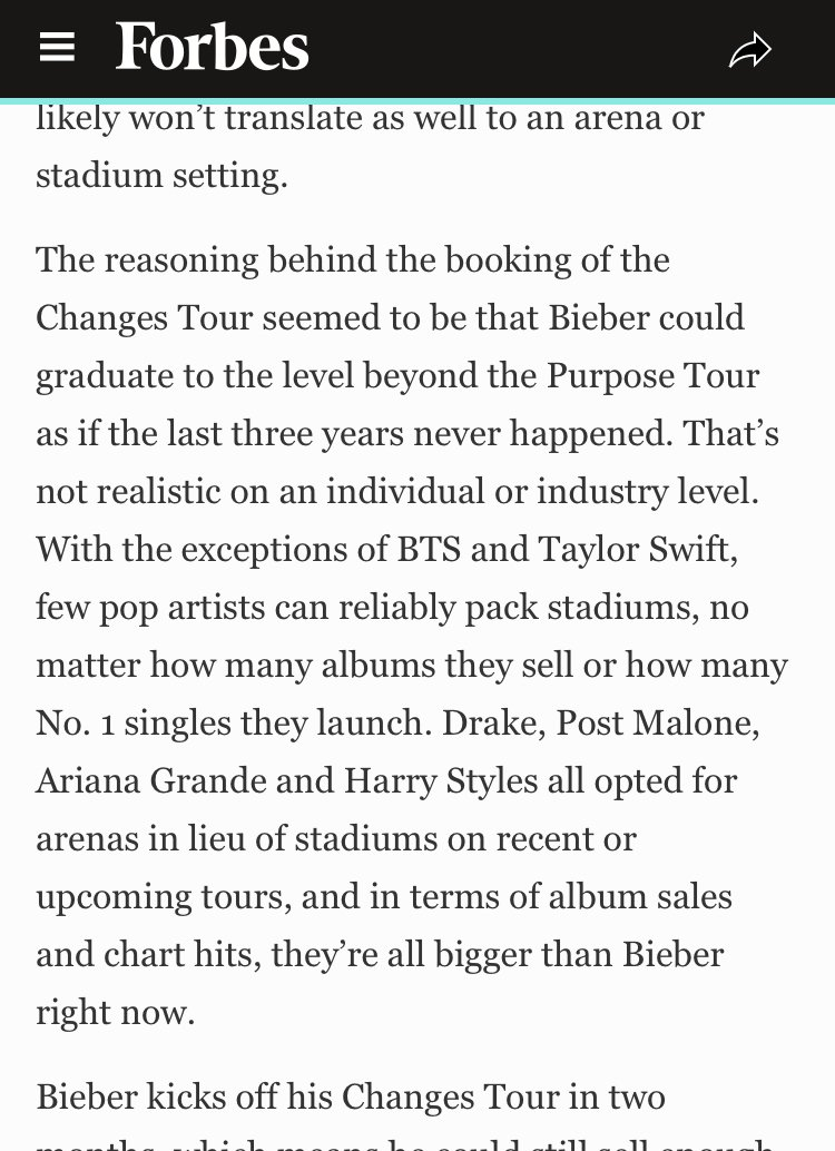"""""""Not every artist who has sold a few number one singles can pull off a stadium tour the way Taylor and BTS did,"""" Forbes said of the upcoming Tours. #Changes #ChangesTour #TaylorSwift #loverfest #reputationtour #RepTour https://twitter.com/guiwbuwyg/status/1244462238859055104…pic.twitter.com/h9aIrcPblP"""